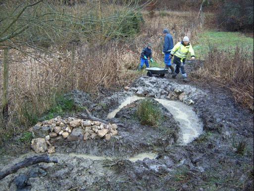 Aufweitung einer Drainage für Amphibien; Mörschbach (Herbst 2009)