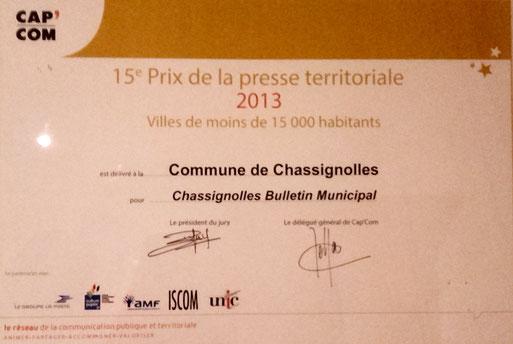 Prix Cap'Com 2013 décerné à Chassignolles