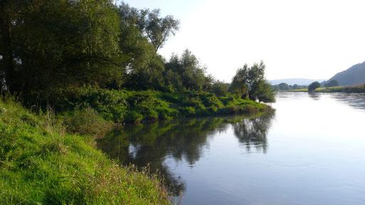Hier mündet der Hellegraben in die Weser