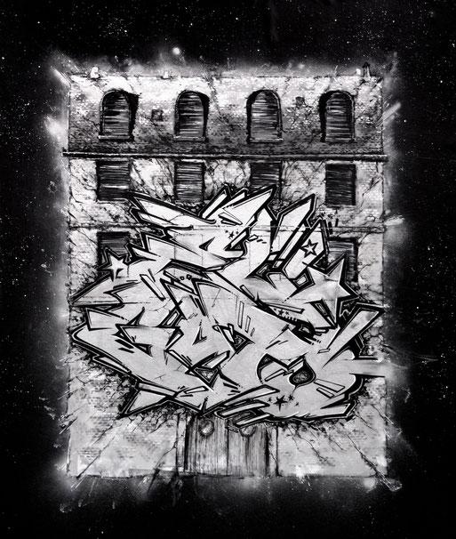 ELGATO - graffiti peinture streetart noir et blanc lamaise collectif