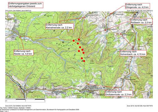 Standorte der geplanten Windkraftanlagen