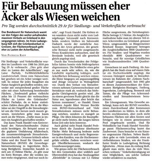 LKZ-Bericht vom 14.02.2012 zum Thema Flächenverbrauch im Landkreis Ludwigsburg