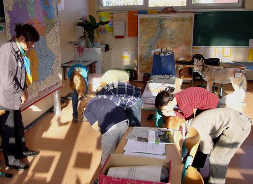 Heulen wie die Wölfe: Projekttage des NABU mit der Hector-Kinder-Akademie an der Grundschule in Marbach (November 2011, Foto: Carola Preuß)