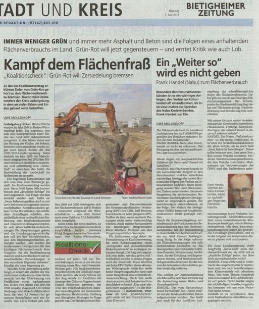 BZ vom 7. Juni 2011 üer den Flächenverbauch im Kreis Ludwigsburg, und Interview mit Frank Handel