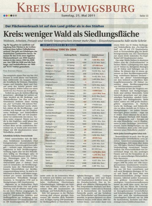 Ludwigsburger Kreiszeitung von 21. Mai 2011 zum Flächenverbrauch im Kreis Ludwisgburg