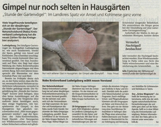 BZ am 4. Juni über Stunde der Gartenvögel und neuer Vorstand NABU Kreisverband Ludwigsburg