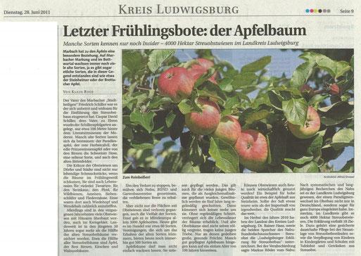 LKZ vom 28.06.2011 Bericht über den vierten Frühlingsboten: Der Apfelbaum