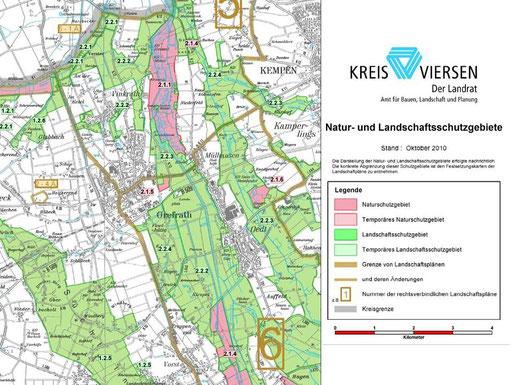 Naturschutzgebiet (rot) = Leinenpflicht, Landschaftsschutzgebiet (grün) = Freilauf erlaubt