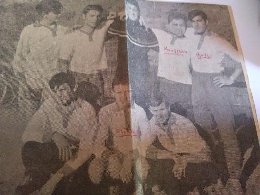 Equipe de hand - En bas : Cotti - Miralles - Daumas - En haut?