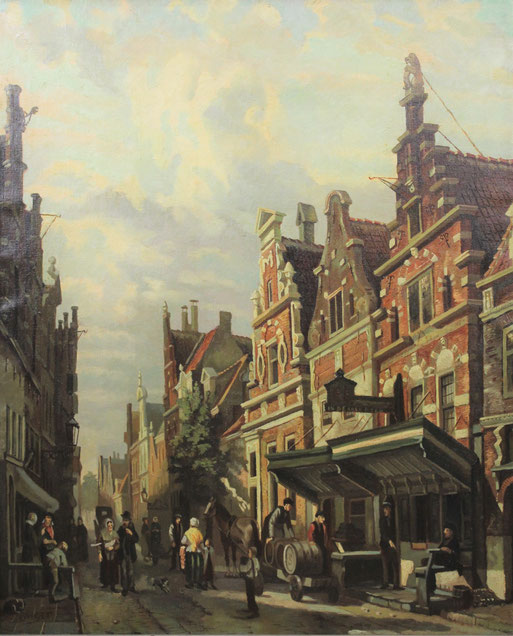 te_koop_aangeboden_een_stadsgezicht_uit_de_19e_eeuw_van_de_nederlandse_kunstschilder_wim_van_woerkom_1905-1998