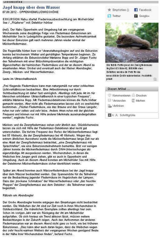 Pressebericht zu unserer 1. Exkursion am 28.Juli 2012