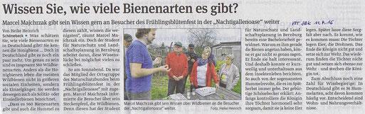 Volksstimme Schönebeck vom 11. April 2016 (Heike Heinrich)