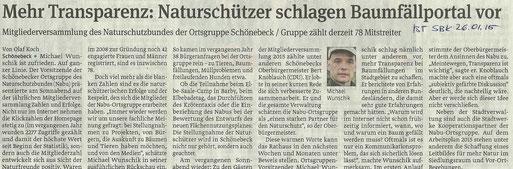 Volksstimme Schönebeck vom 26. Januar 2015 (Olaf Koch)