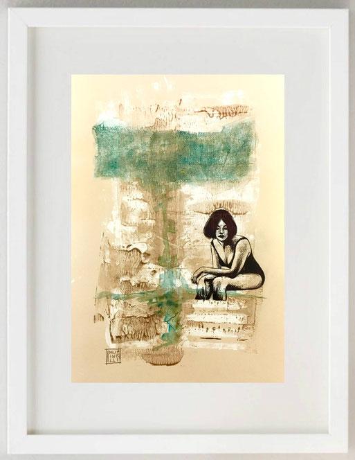 """84 / ROSANNA MUTINELLI, """"Attesa 1"""", Acquerello, acrilico, china, biro, garza, 20 x 30"""