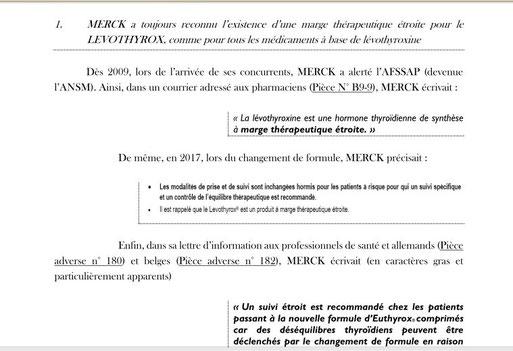 Merck/Levothyrox arguments