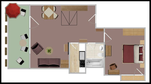 "Groundplan - 2-room-apartment Nr. 1 ""Skihaserl"""