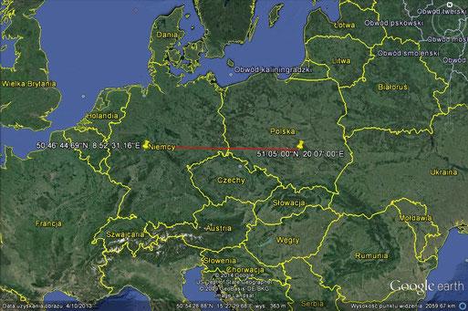 Zugroute von 1M28 von Szkucin, Ruda Maleniecka in Polen nach Fronhausen! Distanz rund 800 Kilometer!