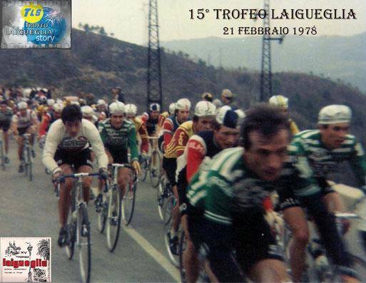Foto courtesy: archivio AVL, passaggio gruppo sull'altopiano di Testico, si riconosce a sx. Francesco Moser, Barone (Fiorella), Martinelli (Magniflex), Wolfer (Zonca un po nascosto da Rossignoli) e Paleari. Grazie a Daniel Schamps per i nomi dei ciclisti.