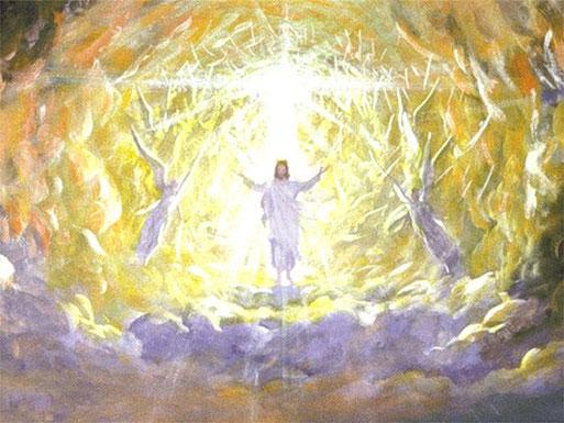 Le retour glorieux de Jésus-Christ: son visage était comme le soleil et ses jambes comme des colonnes de feu. Quelqu'un qui ressemblait à un fils de l'homme est venu avec les nuées du ciel. Il s'est avancé vers l'Ancien des jours.