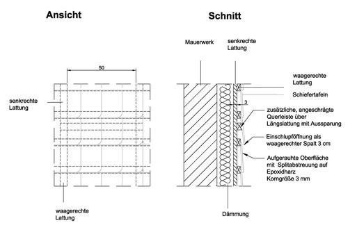 Abb. 7: Quartier für Fledermausarten hinter Schieferverkleidungen.
