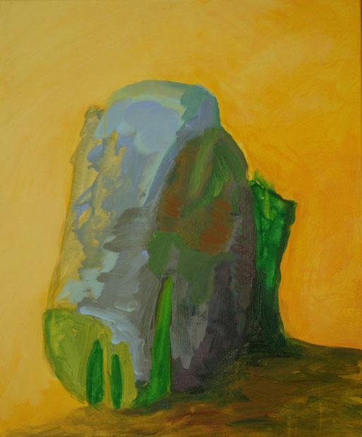 Rocher sur fond jaune I, 2017 Acryl auf Leinwand 60x50