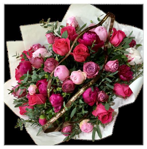 roses and peonies / D70cm |バラの中でも特別な香りを放つ2品種とシャクヤク(季節は5月頃)、大きなブーケ
