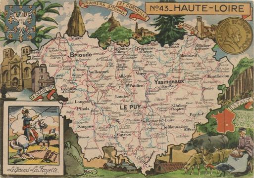 Recto d'une carte postale timbrée envoyée depuis la Haute-Loire