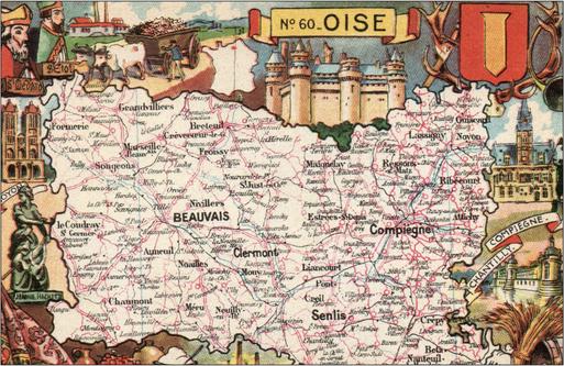 Recto d'une carte postale timbrée envoyée depuis l'Oise