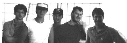 Gründungsmitglieder der Gorgnzüchte, v.l. Joachimg Geuther, Matthias Sünkel (Frosch), Knut Morgenroth, Wolfgang Ritz, Klaus Thaler (Beck)