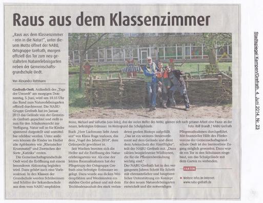 Aus dem Stadtspiegel Kempen/Grefrath, 04. Juni 2014