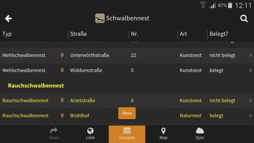 Liste der gefundenen Nester in der Schwalbennest App
