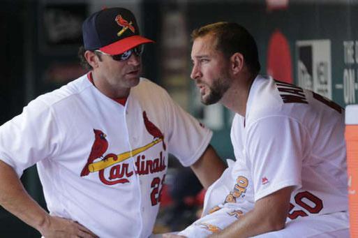 Mike Matheny e Adam Wainwright  (Photo: Tom Gannam)