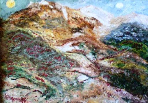 LUNA E SOLE - 2008 olio su tela 45 x 75