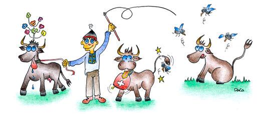 Grusskarte Swissness Knabe mit drei Kühen und Fliegen