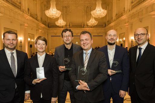 Prize winners Journalism Award with laudators 2018 in Berlin
