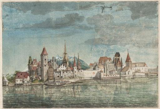 Innsbrucker Stadtansicht von Albrecht Dürer mit Patscherkofel und Glungezer-Sonnenspitze, um 1494 (Albertina)