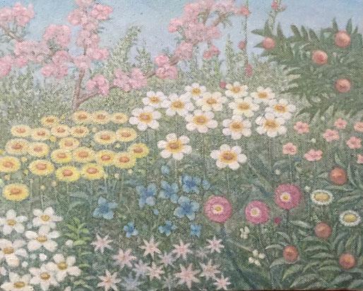 「花咲く散歩道」 油彩 220x273mm