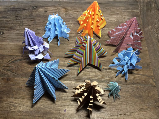 Colorful Origami Christmas trees