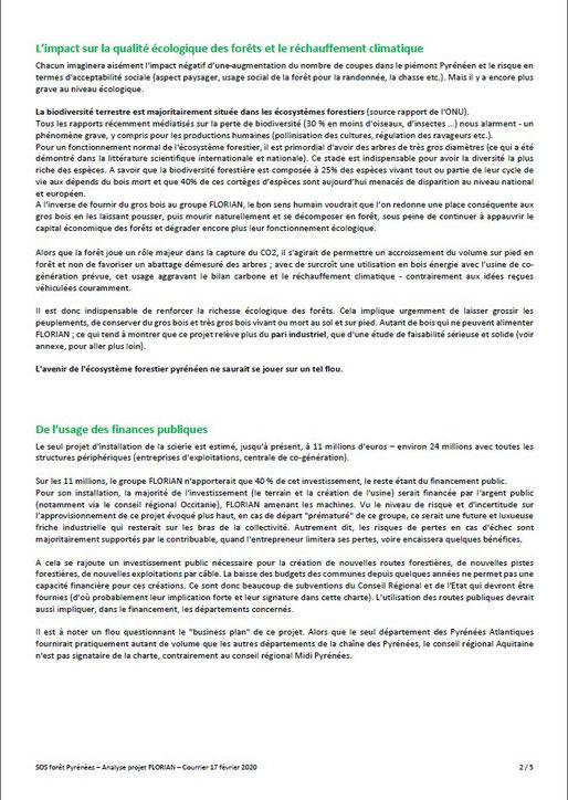 Courrier aux élus communaux, communautaires, départementaux et régionaux par SOS Forêt Pyrénées-P3