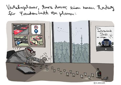Beispiel-Cartoon vom Cartoonisten Hannes Mercker zum neuen Öko-Image von VW