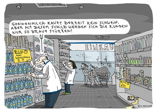 Cartoon vom Cartoonisten Hannes Mercker zur Coronakrise 2020