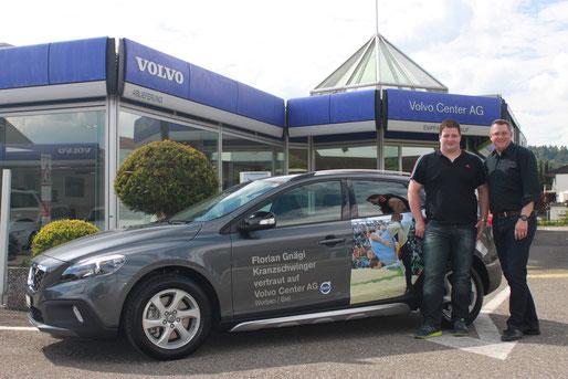 Florian Gnägi mit Volvo von Andreas Derungs, Volvo Center AG worben