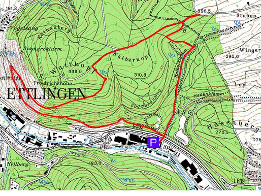 Wanderroute (7 km, ca. 2 Stunden)
