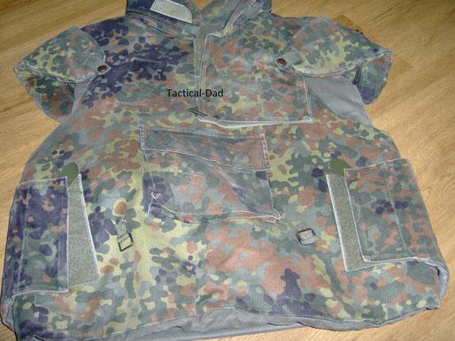 Low Budget Schutzweste: Eine Bundeswehr Splitterschutzweste mit doppelten Einlagen.