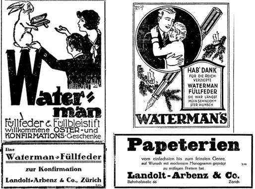 1925 wird für die Marke Waterman als Ostergeschenk geworben und 1926 zu Weihnachten