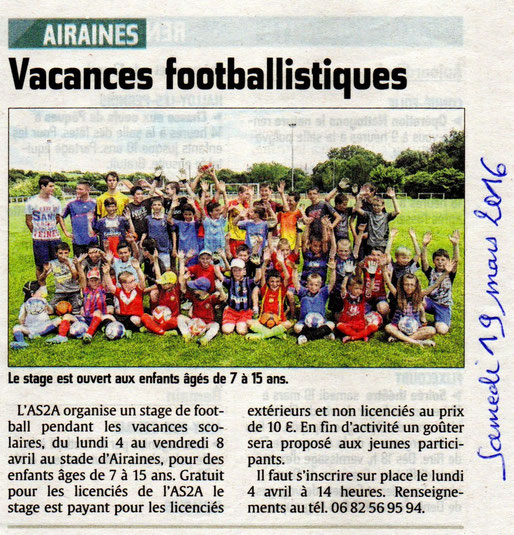 Article du Courrier Picard du 19 mars 2016 en page locale