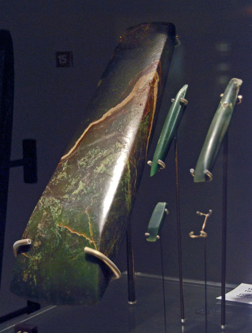 Pounamu adze heads - toki - used as weapons (Auckland Museum).