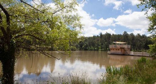Cabane sur l'eau au Domaine de l'Etang de Bazange Dordogne Bergerac Bordeaux
