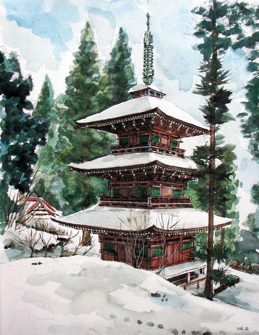 南部町 法光寺 日本一の三重塔 2012年2月 田村まさよし さん
