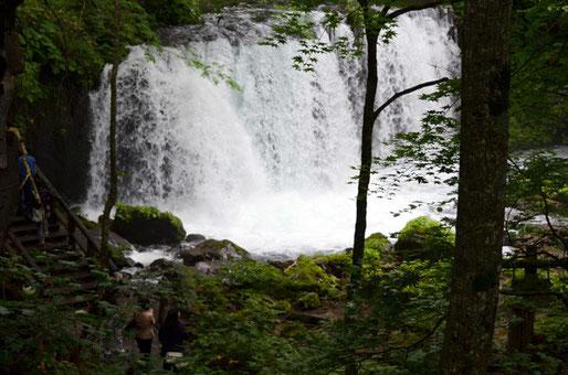 銚子大滝は水量も多く感嘆の声が上がる